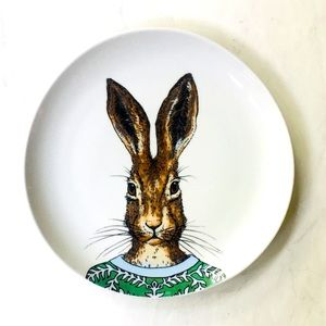West Elm Dapper Animal Plate - Rabbit NIB